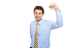 Male holds arm up, success gesture, isolated Stock Photography
