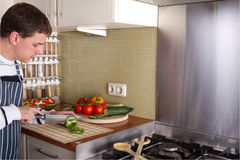 Male in home kitchen Royalty Free Stock Photos