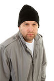 Male homeless tramp. Over white background Royalty Free Stock Images