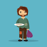 Male homeless. Vector illustration Royalty Free Stock Photo