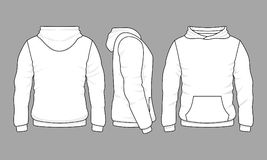 Male hoodie sweatshirt in front, back and side views. Vector sweatshirt or sportswear clothing with hood illustration stock illustration