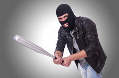 Male hooligan with bat. On white Stock Photography