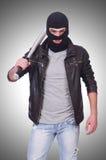 Male hooligan with bat Stock Photos