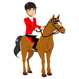 Male Horse Rider. Young male horse rider sitting on equestrian competition Stock Image