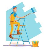 Wall Painter Vector. Worker At Work.. Male House Painter Vector. Classic Paintbrush. Paint Concept Of House Renovation. Cartoon Character Illustration Stock Images