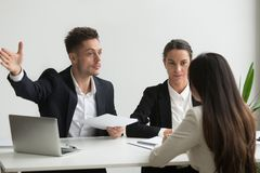Male HR manager asking job candidate to leave royalty free stock images