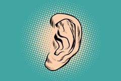 Male human ear Pop art retro Stock Photography