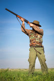 Male hunter on the hunting field Royalty Free Stock Images