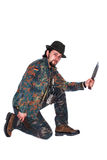 Male hunter with knife Royalty Free Stock Photos