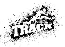 Male Hurdling Over Word Track with Splatter. Vector illustration of a man hurdling over the word Track over a splatter background Stock Photography
