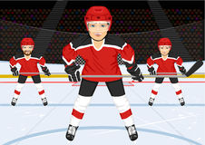 Male ice hockey team. Standing in ice hockey rink in the arena Royalty Free Stock Photo