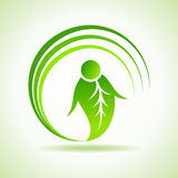 Male icon made by a leaf stock vector Royalty Free Stock Photo