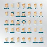 35 male icons for user intarfase , blond hair color. Male blond hair, human faces social network icons vector illustration 35 icons with other hairstyle. flat Royalty Free Stock Photo
