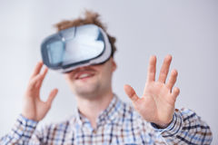 Male immersed in virtual reality Stock Photo