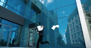Free Male In Black Suit, Businessman, Employee Runs To Office For Meeting, Late In Morning For Work, Hold Papers In Hands Stock Photography - 197085142