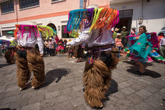 Male indigenous dancers in chaps in Ecuador Royalty Free Stock Image