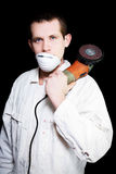 Male Industrial Steel Worker Holding Angle Grinder Royalty Free Stock Photos