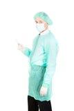 male injektionsspruta för doktorsholding Arkivfoto