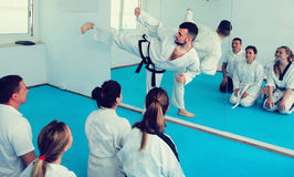 Male instructor demonstrates his skills in martial arts Stock Photography