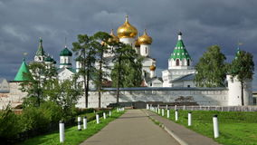 Male Ipatievsky Monastery at cloudy day stock footage