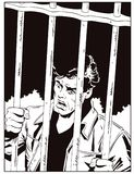 Male in jail. Man is behind prison lattice. Stock illustration. Stock Images