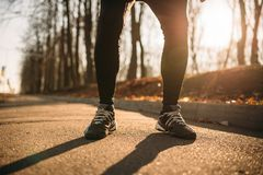 Male jogger legs, morning workout outdoors. Runner in sportswear on training in park stock images
