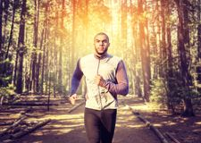 Male jogger on morning workout in the forest. Runner in sportswear on training outdoor. Jogging or running royalty free stock images