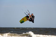 Male jumping kiteboard in Mui ne Vietnam Royalty Free Stock Photography