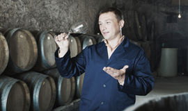 Male keeping ageing process of wine Royalty Free Stock Photo