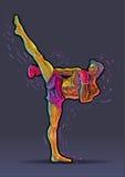 Male kickboxer doing a side kick. Stock Photo