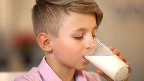 Male kid drinking milk beverage closeup, morning nutrition, health care, lactose. Stock photo royalty free stock photos