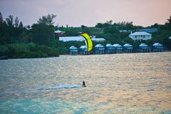 Male Kitesurfer cruising Royalty Free Stock Photos