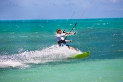 Male Kitesurfer cruising Royalty Free Stock Images