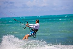 Male Kitesurfer Cruising Stock Photography
