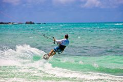 Male Kitesurfer cruising Stock Image