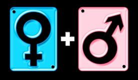 male kvinnligsymboler Arkivbild