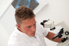 Male lab technician looking at test results. A young male lab technician looks at slides through a microscope whilst comparing the results to earlier tests Royalty Free Stock Images