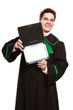Male lawyer hold tablet computer in open case. Stock Photography
