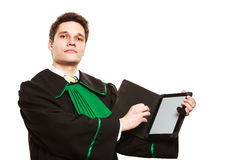 Male lawyer hold tablet computer in open case. Royalty Free Stock Photo