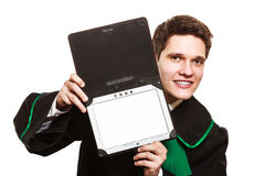 Male lawyer hold tablet computer in open case. Technology and career legal advice. Young male lawyer hold tablet portable computer show advice and help Royalty Free Stock Images