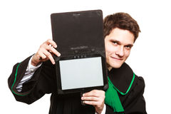 Male lawyer hold tablet computer in open case. Technology and career legal advice. Young male lawyer hold tablet portable computer show advice and help Stock Photos