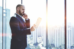 Male lawyer is talking on mobile phone royalty free stock photo