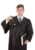 Male Lawyer With Weight Scale And Book. Male Lawyer Holding Weight Scale And Book Over White Background stock images