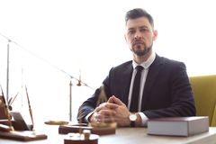 Male lawyer working. In office royalty free stock photography