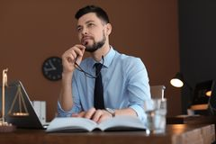 Male lawyer working stock image
