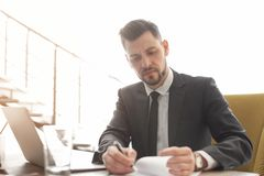 Male lawyer working stock images