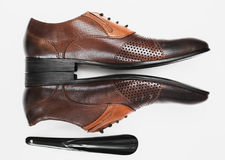 Male  leather executive shoes Stock Images