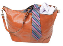 Male leather handbag with shirt and tie isolated. On white background Stock Images