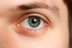 Male left green grey coloured eye extreme closeup. Oculist and perfect vision contact lens concept stock photos