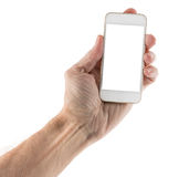 Male left hand holding smartphone with blank screen. Image of male left hand holding smartphone with screen isolated ready for insertion of your application or Royalty Free Stock Photos